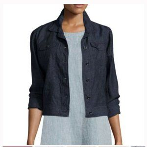 Eileen Fisher Linen Chambray Button Down Jacket